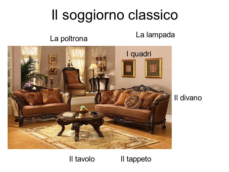 Il soggiorno classico La lampada La poltrona I quadri Il divano