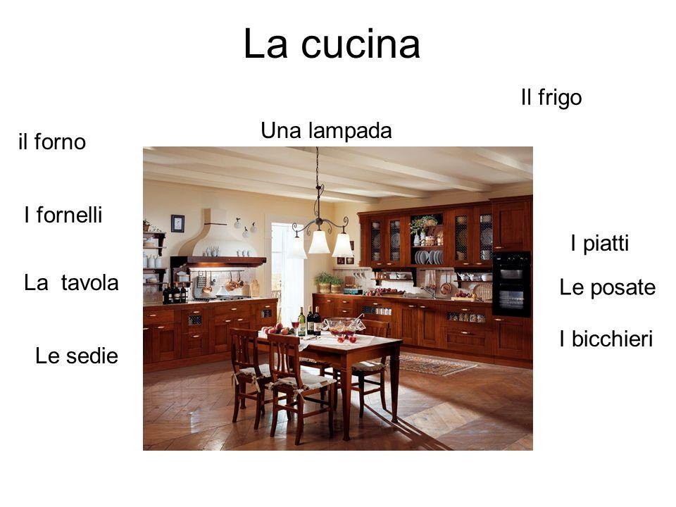 La cucina Il frigo Una lampada il forno I fornelli I piatti La tavola