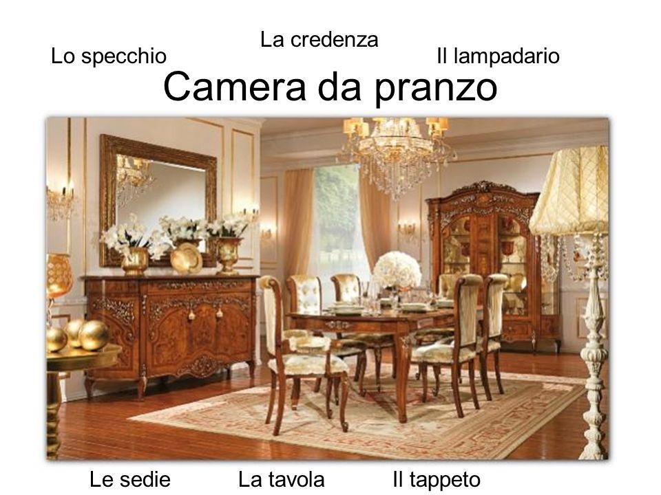 Camera da pranzo La credenza Lo specchio Il lampadario Le sedie