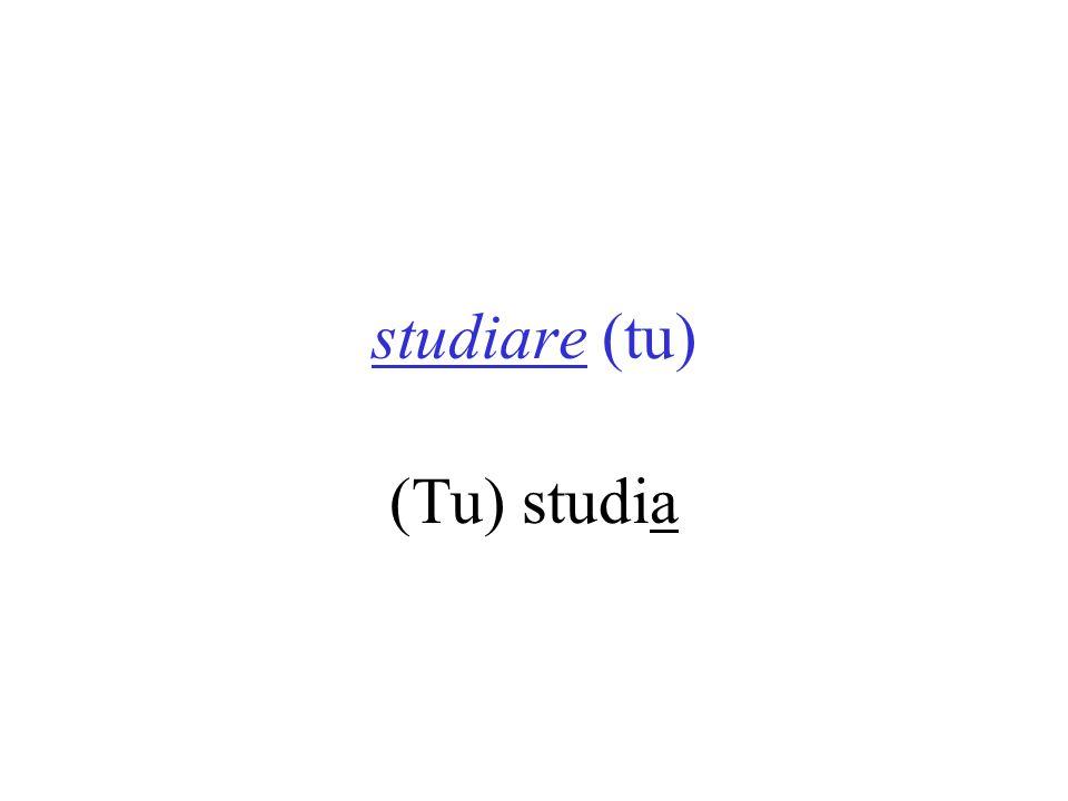 studiare (tu) (Tu) studia PARLARE VEDERE SENTIRE CAPIRE