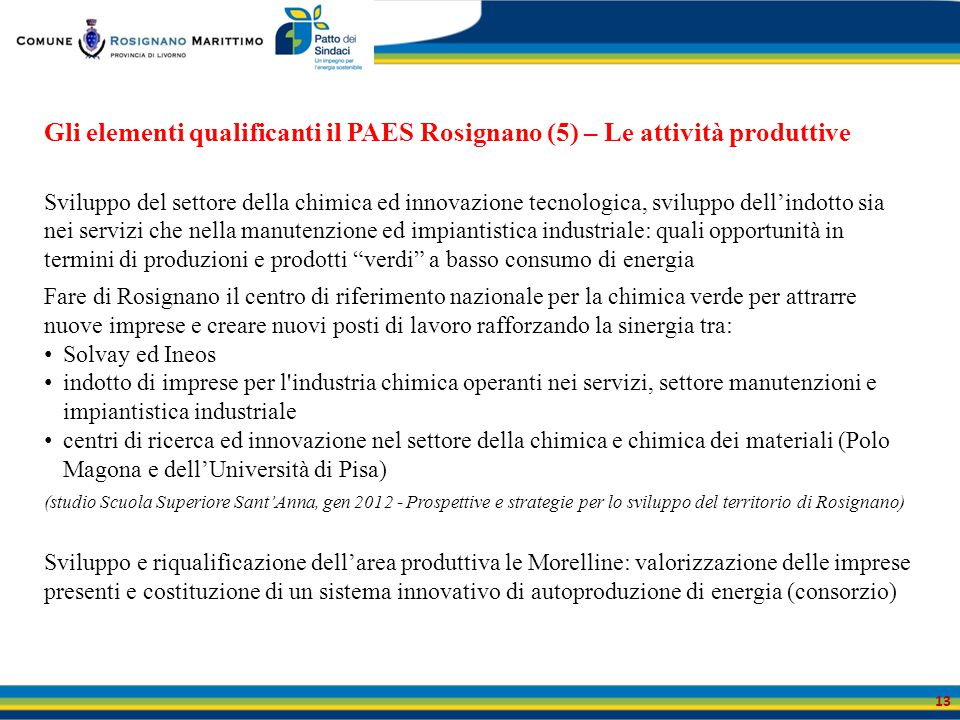 Gli elementi qualificanti il PAES Rosignano (5) – Le attività produttive
