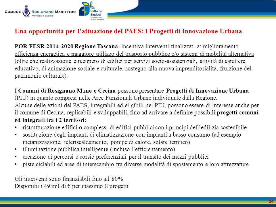 Una opportunità per l'attuazione del PAES: i Progetti di Innovazione Urbana
