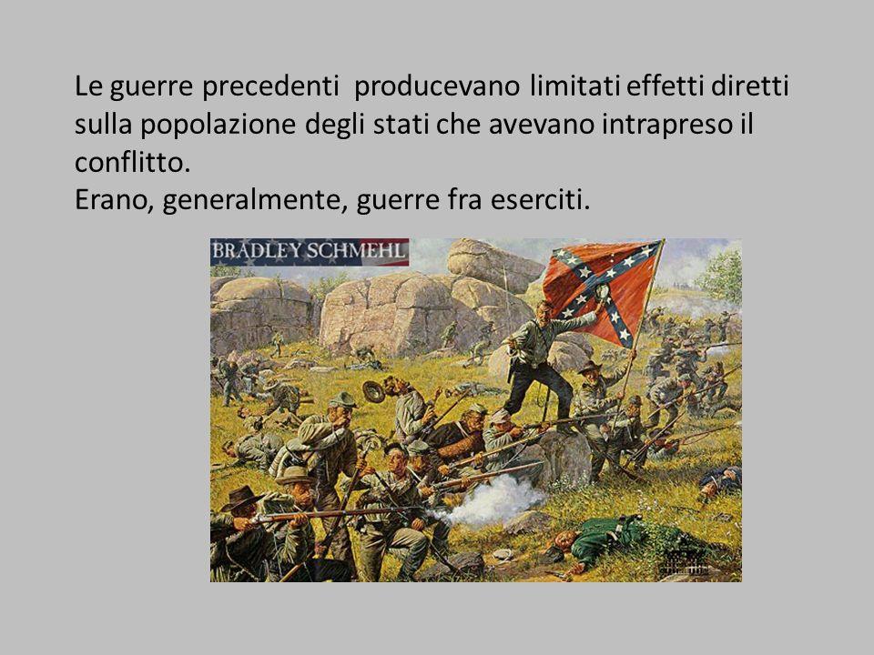 Le guerre precedenti producevano limitati effetti diretti sulla popolazione degli stati che avevano intrapreso il conflitto.