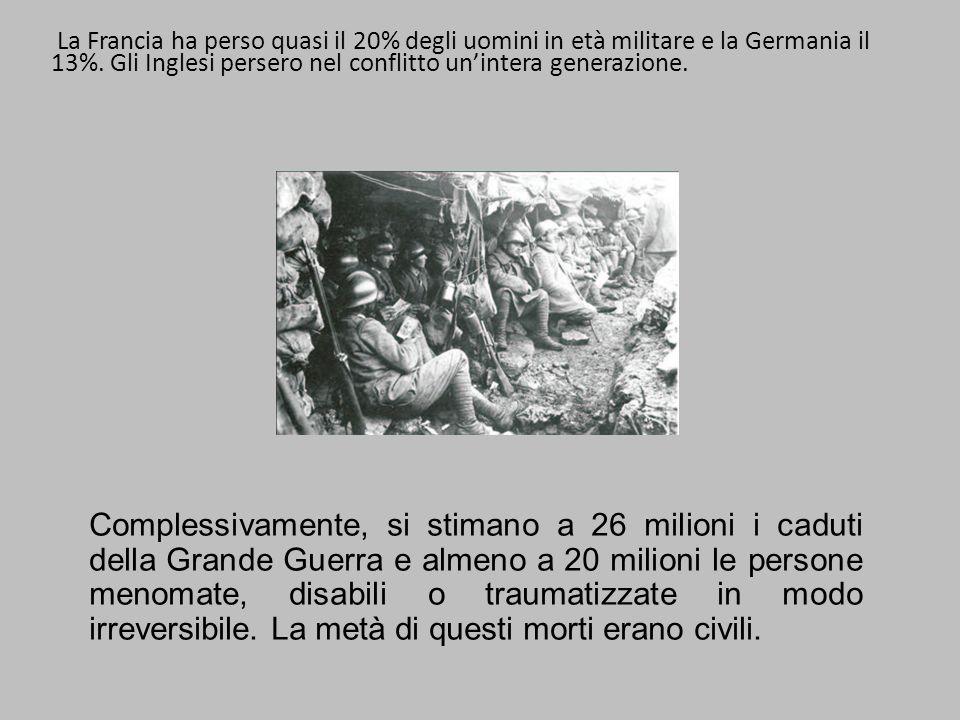 La Francia ha perso quasi il 20% degli uomini in età militare e la Germania il 13%. Gli Inglesi persero nel conflitto un'intera generazione.