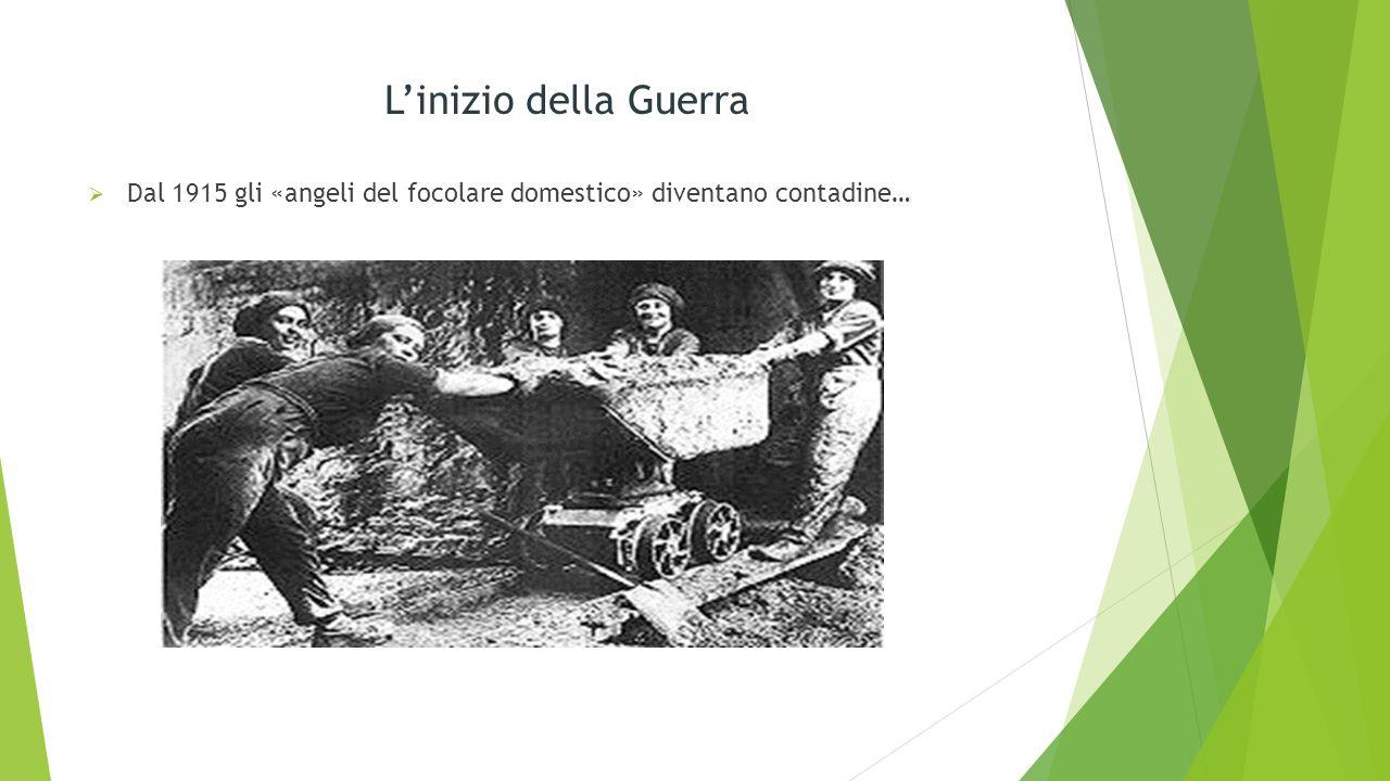 L'inizio della Guerra Dal 1915 gli «angeli del focolare domestico» diventano contadine…