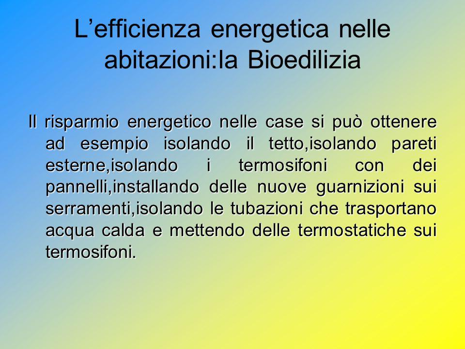 L'efficienza energetica nelle abitazioni:la Bioedilizia