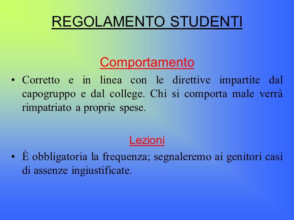 REGOLAMENTO STUDENTI Comportamento