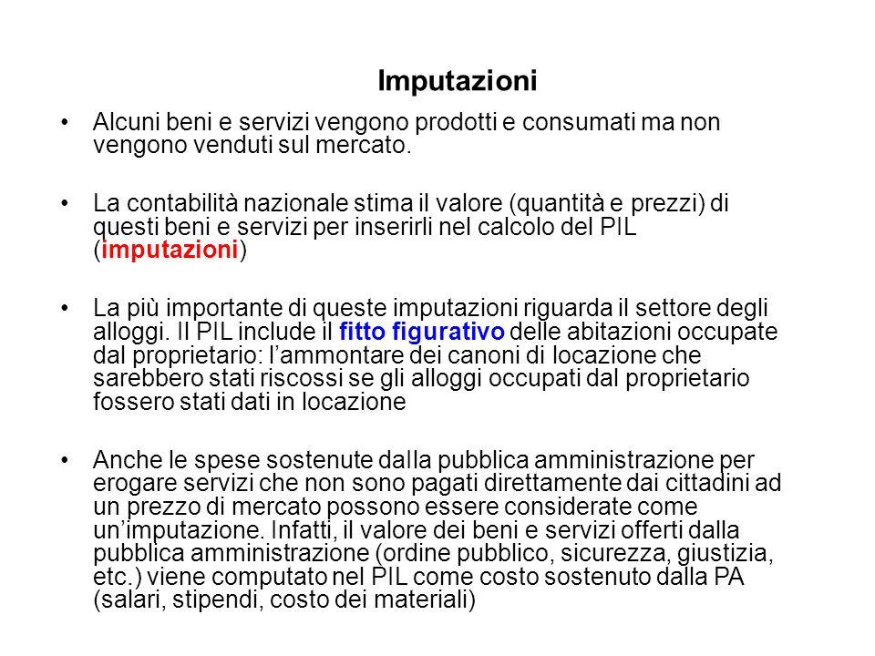 Imputazioni Alcuni beni e servizi vengono prodotti e consumati ma non vengono venduti sul mercato.