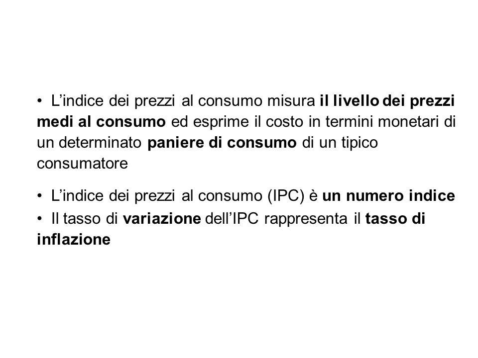 L'indice dei prezzi al consumo misura il livello dei prezzi medi al consumo ed esprime il costo in termini monetari di un determinato paniere di consumo di un tipico consumatore