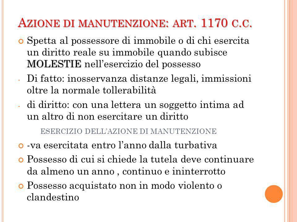 Azione di manutenzione: art. 1170 c.c.