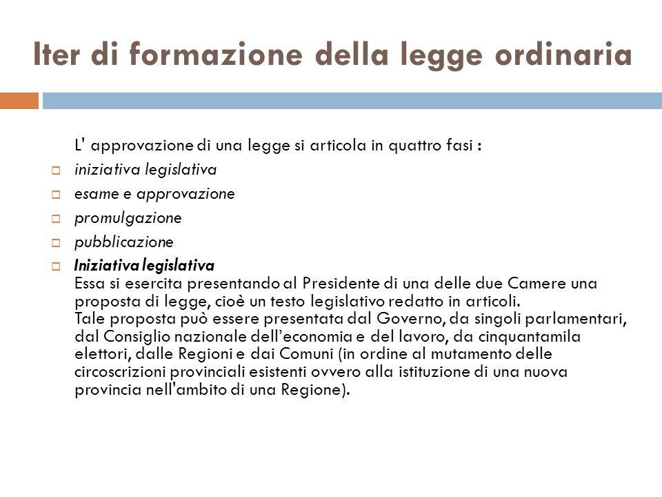 Iter di formazione della legge ordinaria