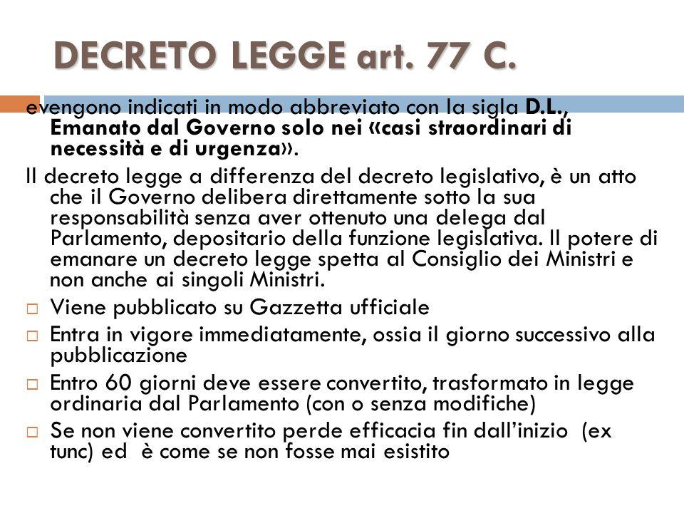 DECRETO LEGGE art. 77 C.