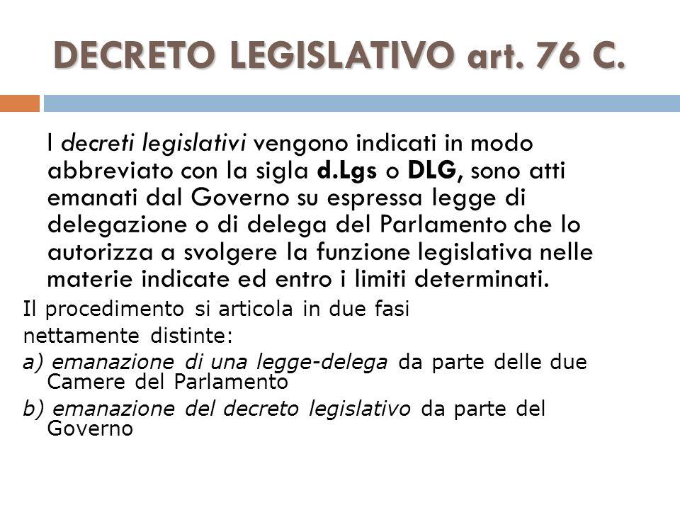 DECRETO LEGISLATIVO art. 76 C.