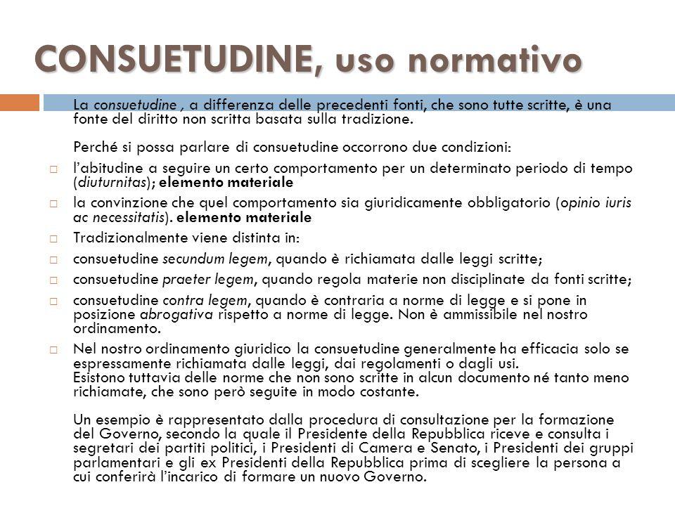CONSUETUDINE, uso normativo