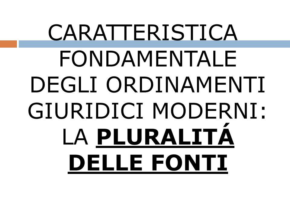 CARATTERISTICA FONDAMENTALE DEGLI ORDINAMENTI GIURIDICI MODERNI: LA PLURALITÁ DELLE FONTI