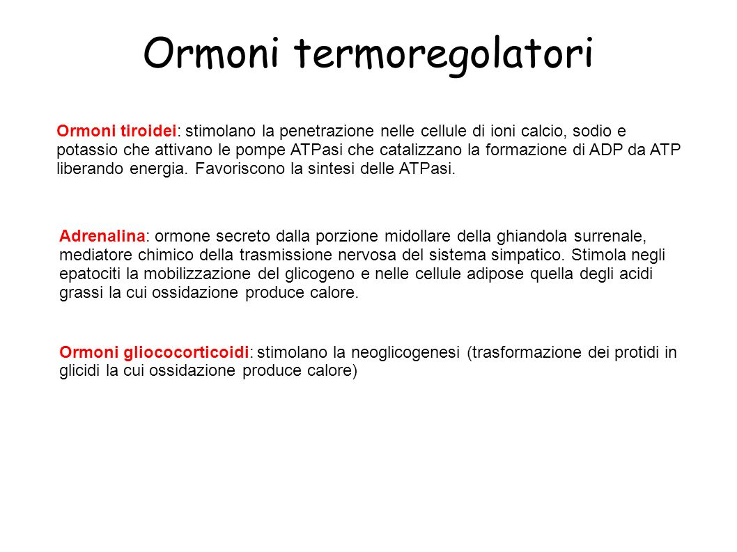 Ormoni termoregolatori