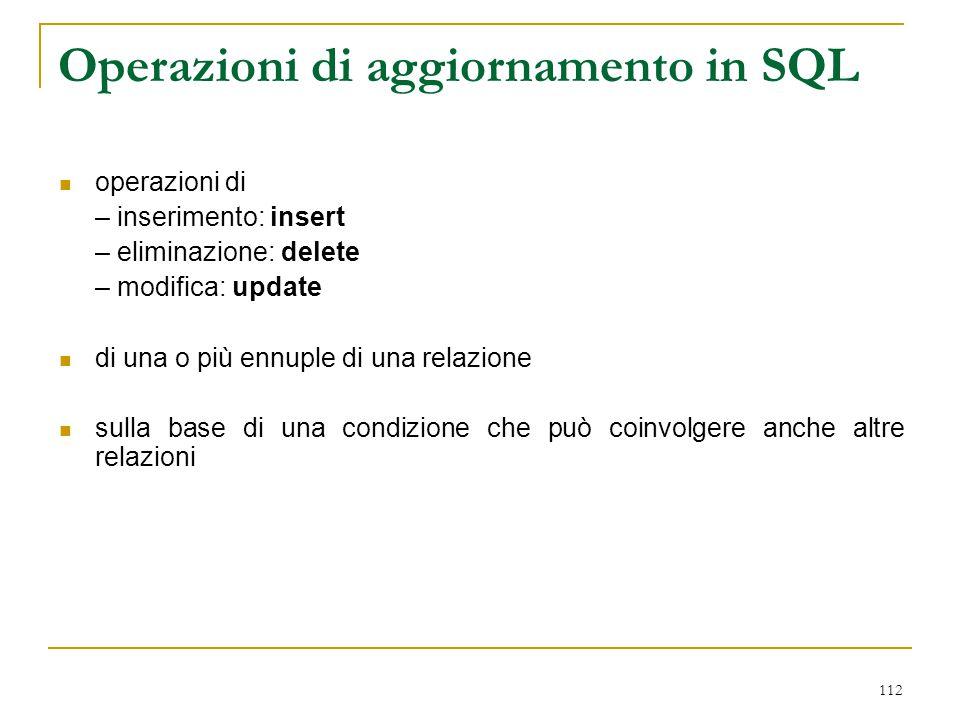 Operazioni di aggiornamento in SQL