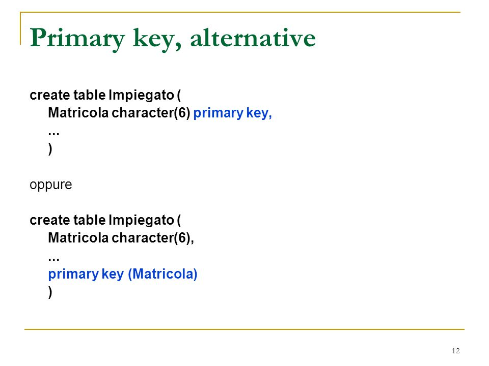 Primary key, alternative