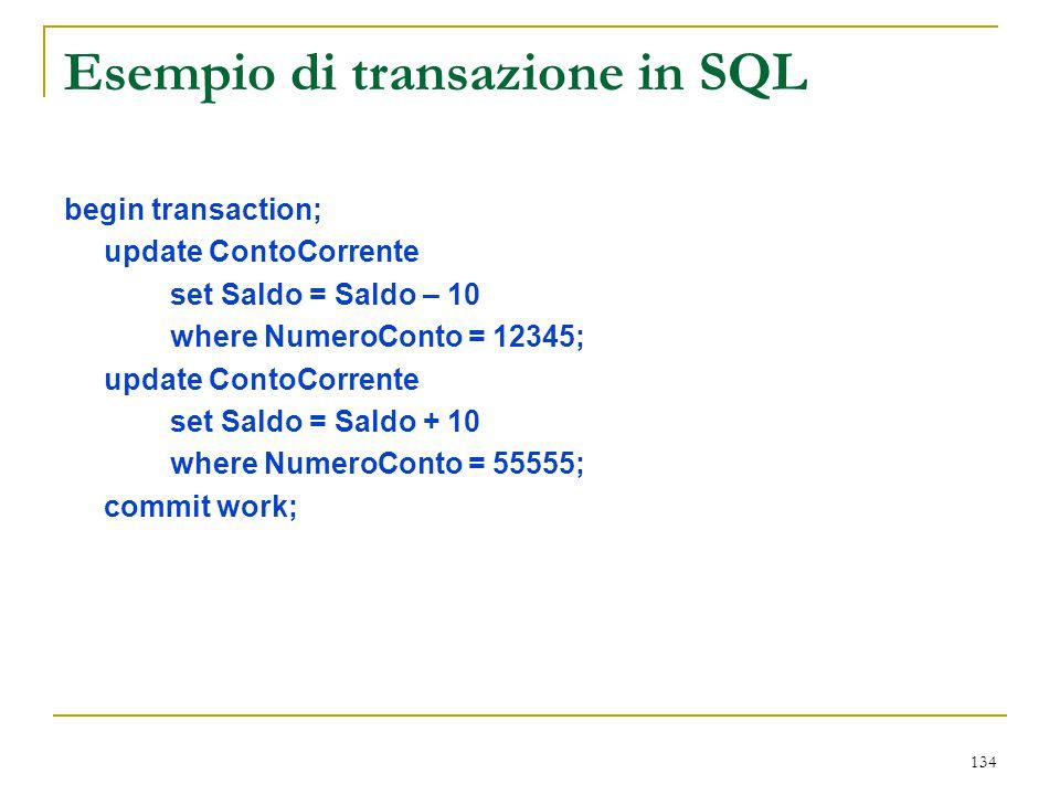 Esempio di transazione in SQL