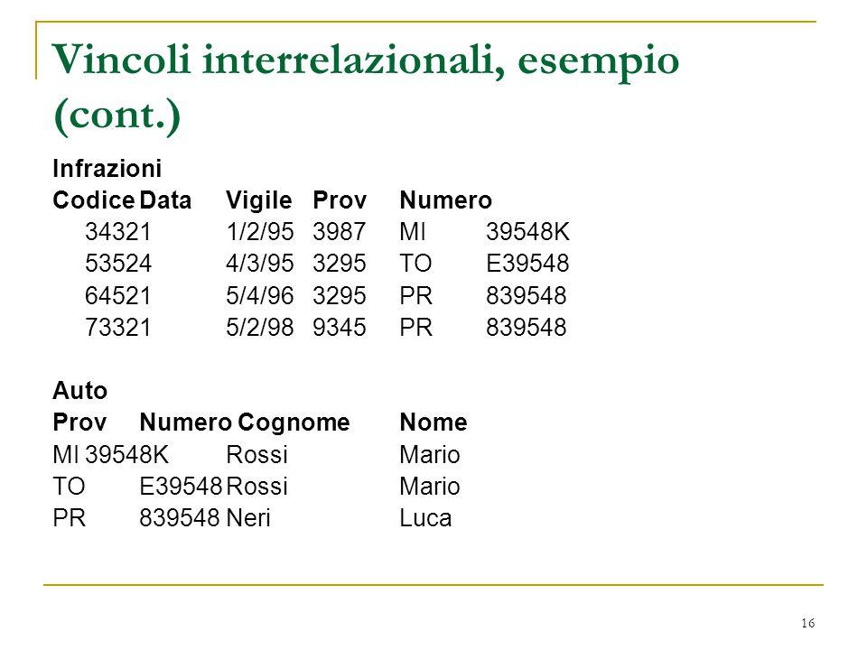 Vincoli interrelazionali, esempio (cont.)
