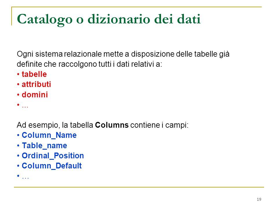 Catalogo o dizionario dei dati