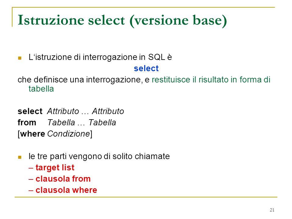 Istruzione select (versione base)