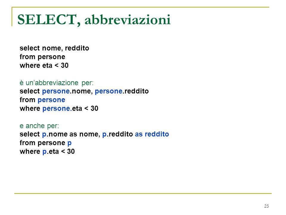 SELECT, abbreviazioni select nome, reddito from persone