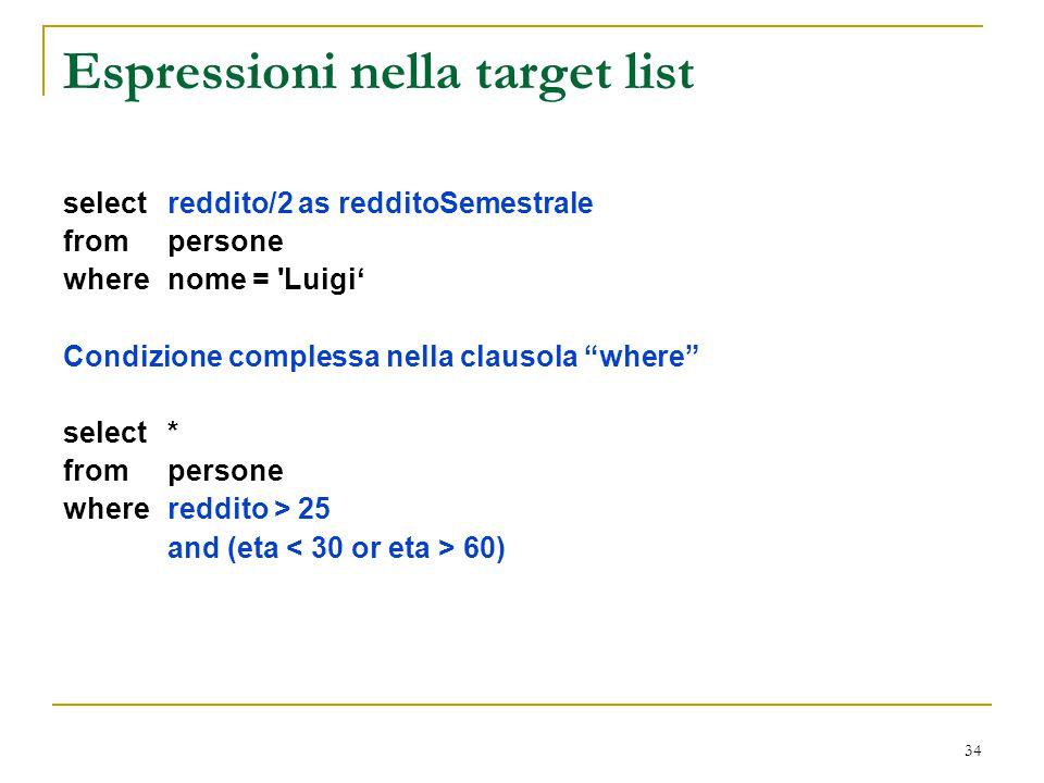 Espressioni nella target list