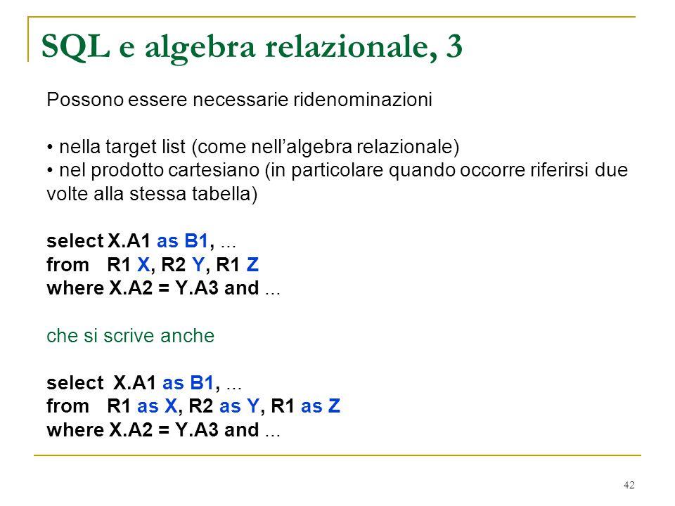 SQL e algebra relazionale, 3