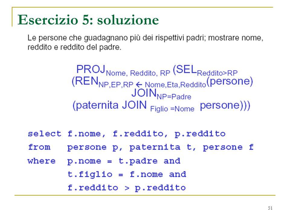 Esercizio 5: soluzione