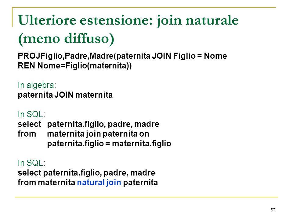 Ulteriore estensione: join naturale (meno diffuso)