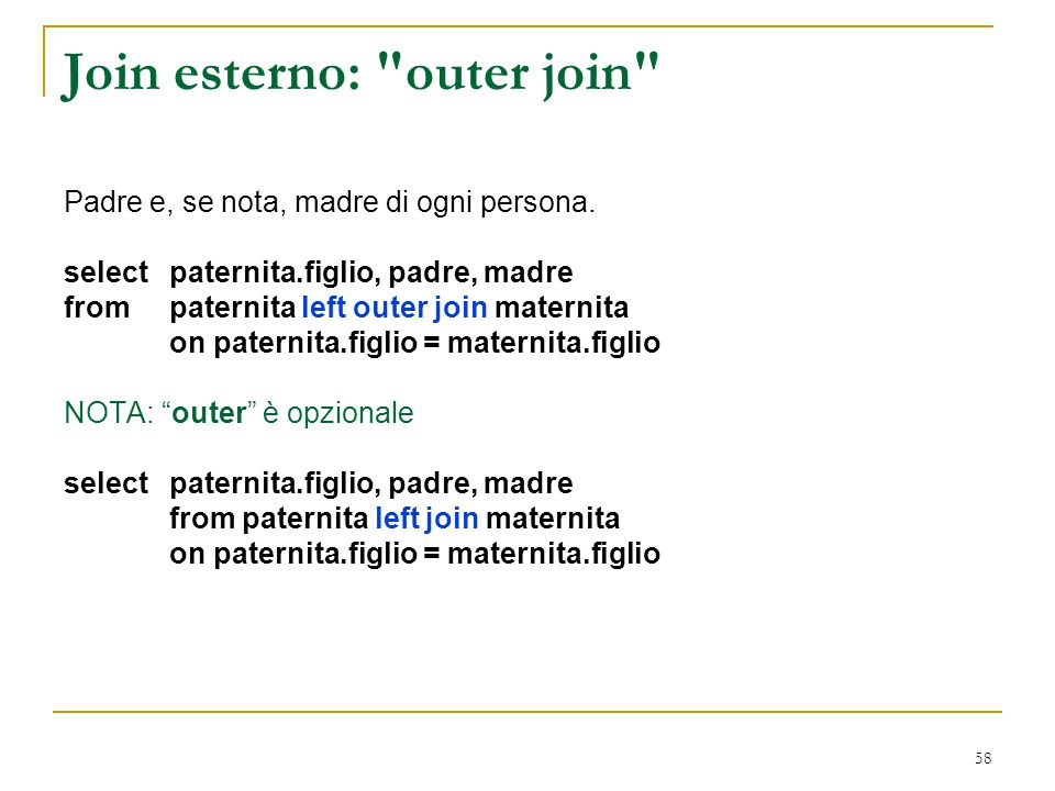 Join esterno: outer join