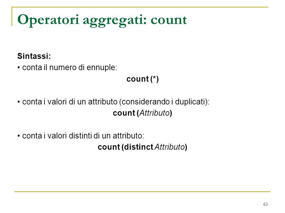 Operatori aggregati: count