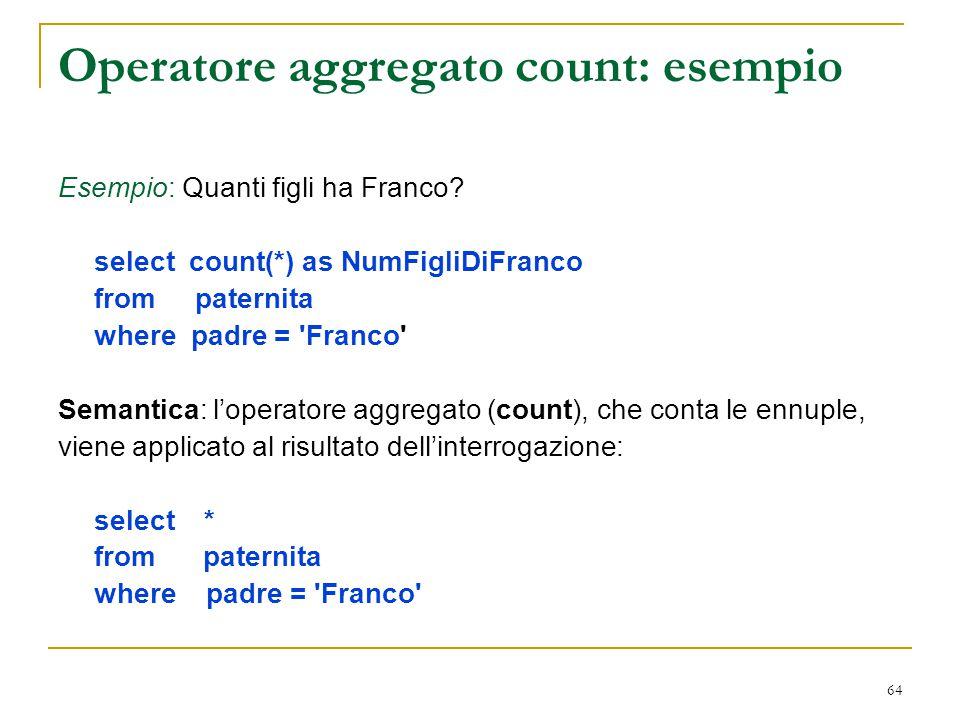 Operatore aggregato count: esempio