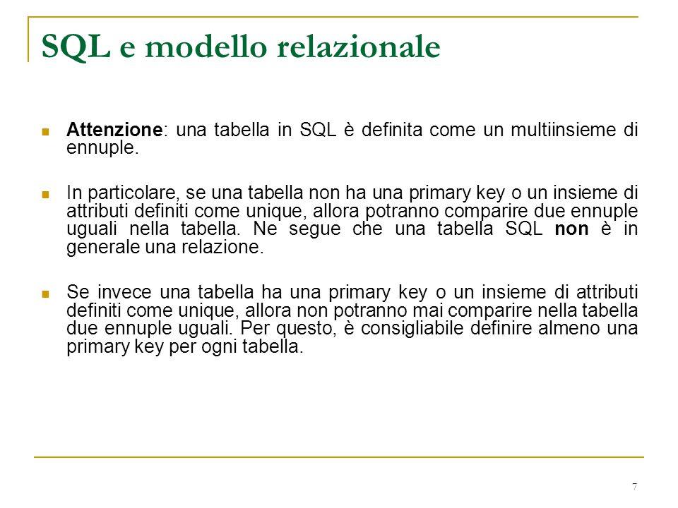 SQL e modello relazionale