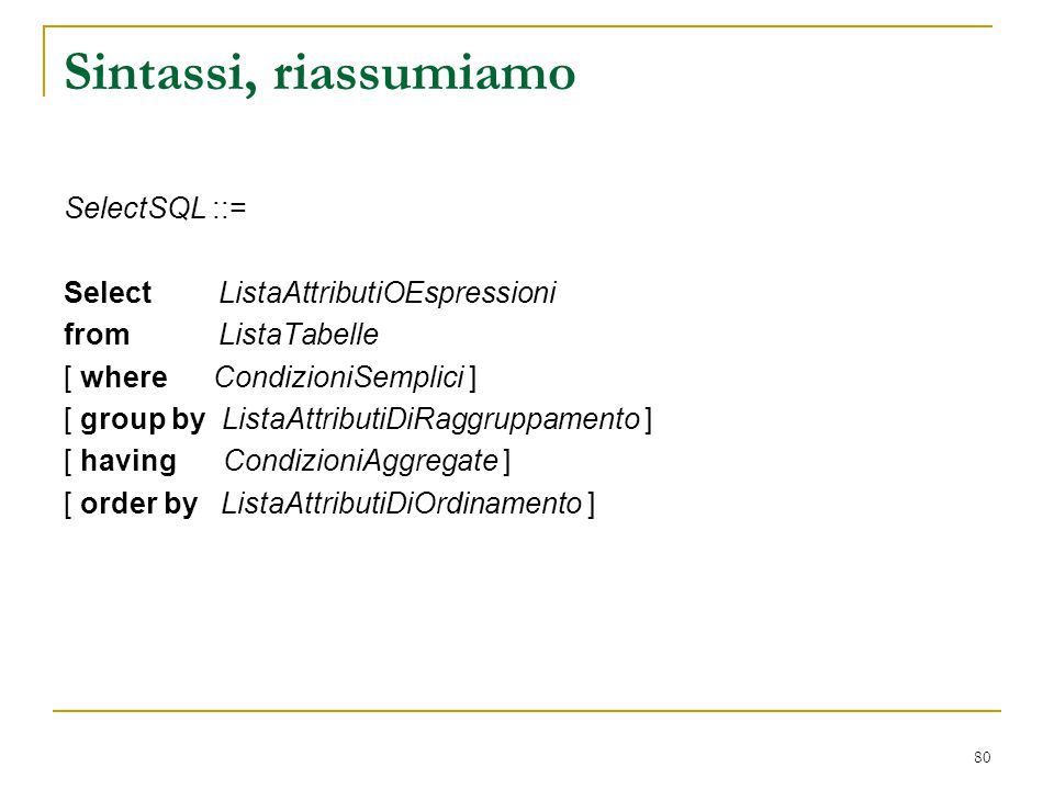 Sintassi, riassumiamo SelectSQL ::= Select ListaAttributiOEspressioni