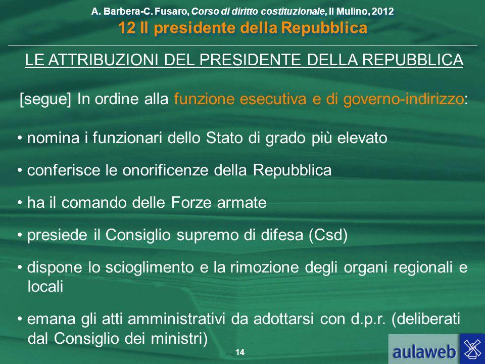 LE ATTRIBUZIONI DEL PRESIDENTE DELLA REPUBBLICA