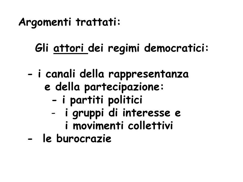 Gli attori dei regimi democratici: - i canali della rappresentanza