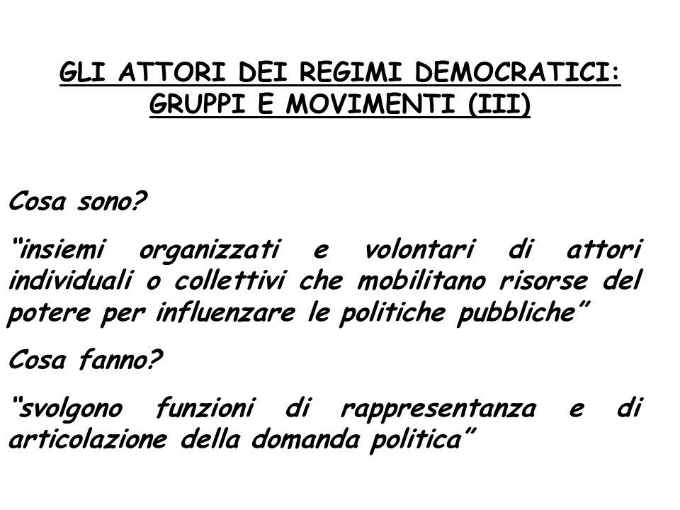 GLI ATTORI DEI REGIMI DEMOCRATICI: GRUPPI E MOVIMENTI (III)