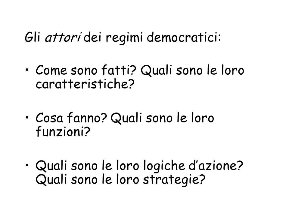 Gli attori dei regimi democratici: