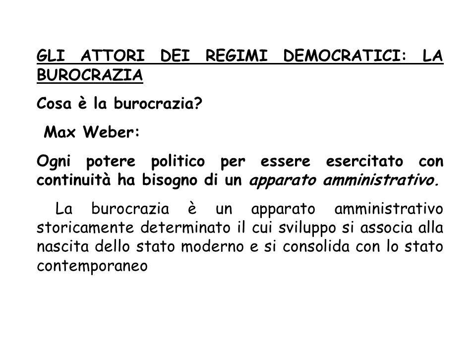 GLI ATTORI DEI REGIMI DEMOCRATICI: LA BUROCRAZIA