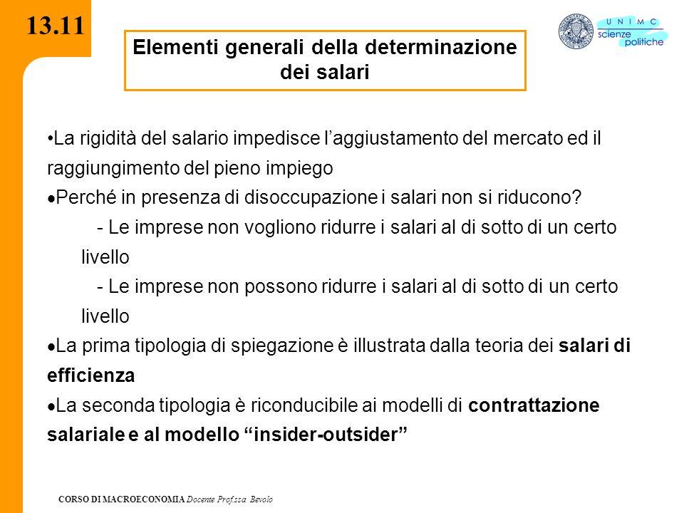 Elementi generali della determinazione dei salari
