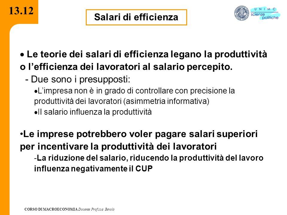 13.12 Salari di efficienza. · Le teorie dei salari di efficienza legano la produttività o l'efficienza dei lavoratori al salario percepito.