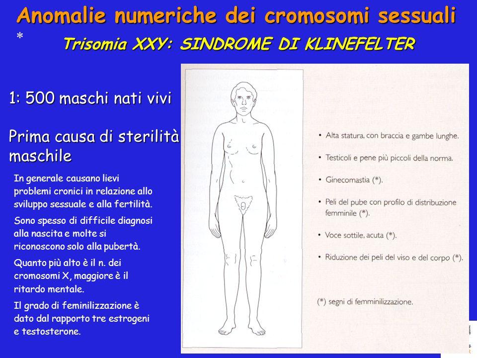 Anomalie numeriche dei cromosomi sessuali