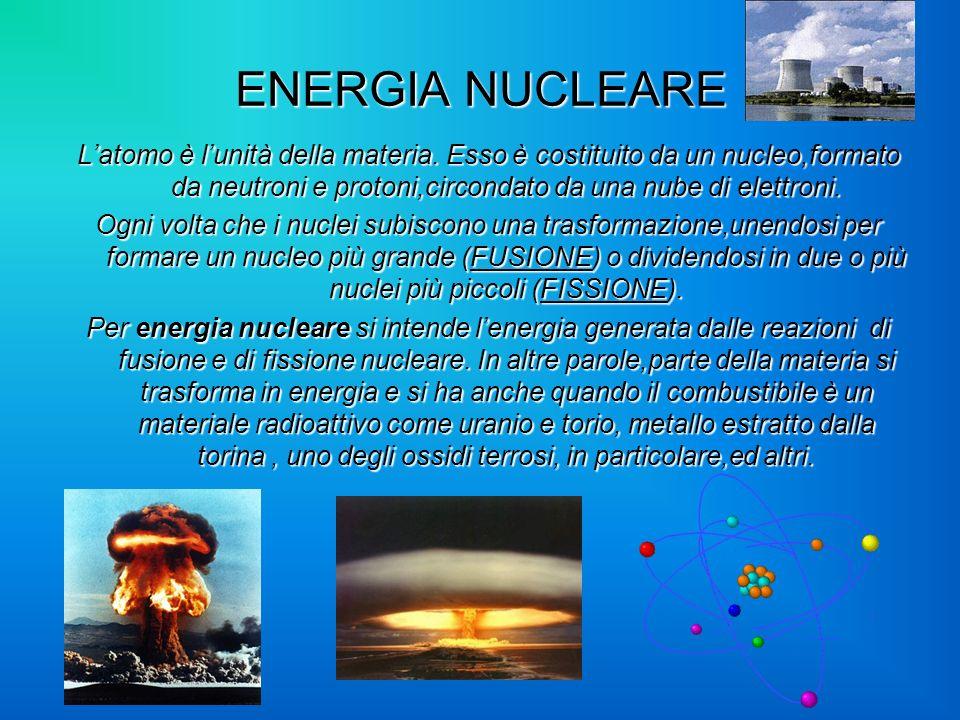ENERGIA NUCLEARE L'atomo è l'unità della materia. Esso è costituito da un nucleo,formato da neutroni e protoni,circondato da una nube di elettroni.