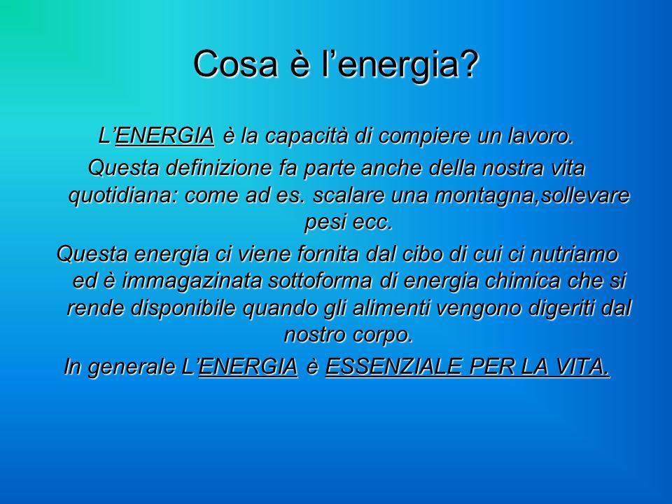 Cosa è l'energia L'ENERGIA è la capacità di compiere un lavoro.