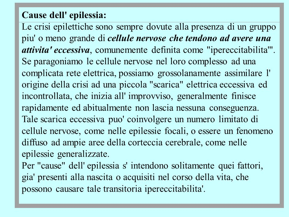 Cause dell epilessia: