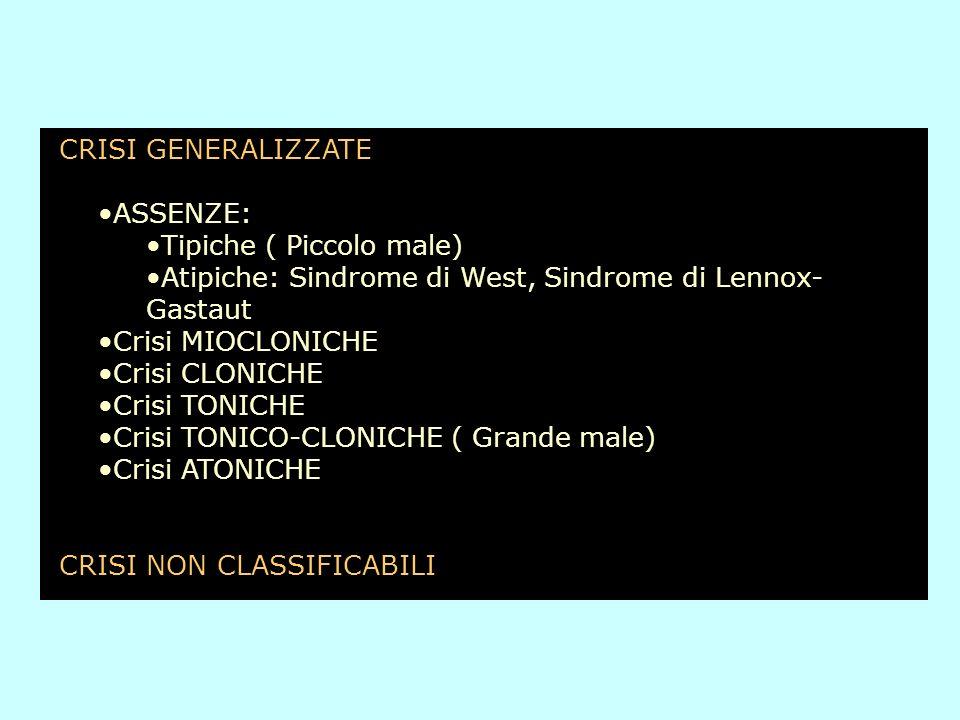 CRISI GENERALIZZATE ASSENZE: Tipiche ( Piccolo male) Atipiche: Sindrome di West, Sindrome di Lennox-Gastaut.