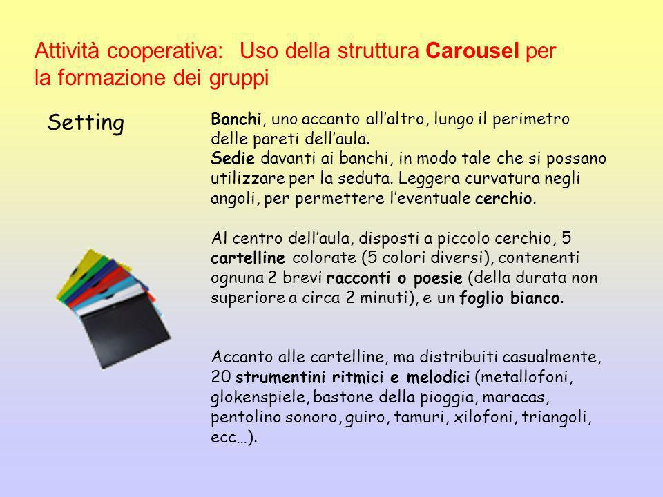 Attività cooperativa: Uso della struttura Carousel per la formazione dei gruppi