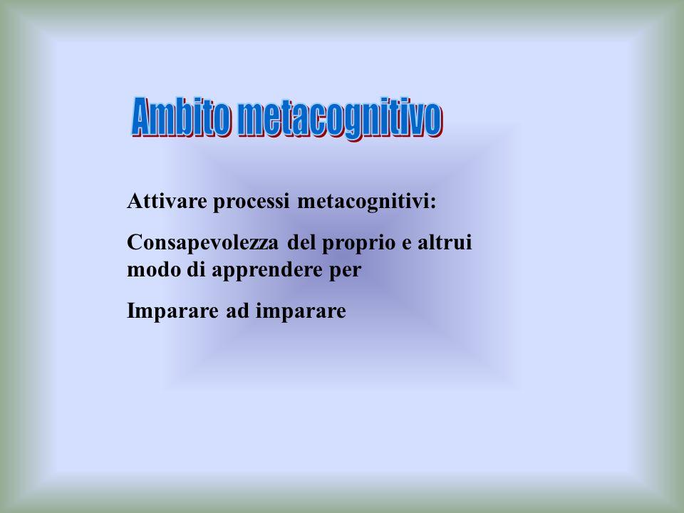 Ambito metacognitivo Attivare processi metacognitivi: